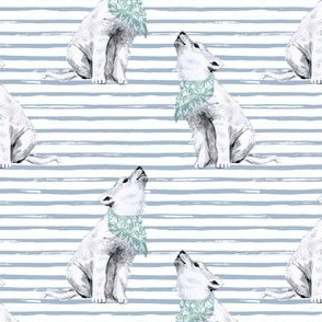 """4"""" Baby Boy Wolf with Bandana and Blue Stripes"""