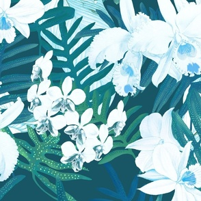 Vintage White Orchids II Teal 250
