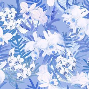 Vintage White Orchids II Blue 400