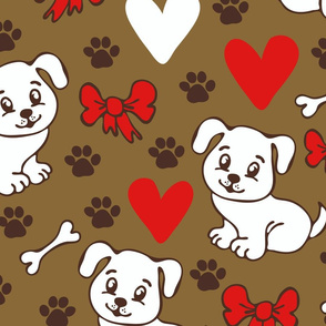 Seamless vector pattern with dogs and love harts on brown background. Animal wallpaper design with white puppies.