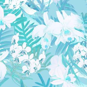 Vintage White Orchids II Aqua 300