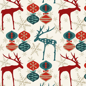 Deer & Ornaments -Mixed - Winter White - Mid Century Modern Holiday, Christmas, Red, Evergreen Blue