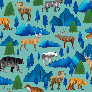 Mountains, animals and trees
