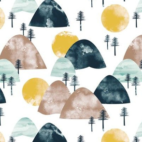 The hills little enchanted forest mountains trees and sun shine mint navy ochre