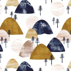 The hills little enchanted forest mountains trees and ochre cinnamon navy boys
