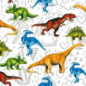 Happy Dinosaurs on Volcano Background - Small