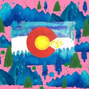 1 Yard Colorado watercolor pink
