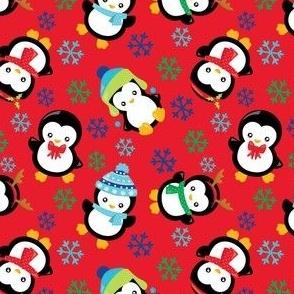 FS Playful Penguins Solid Red
