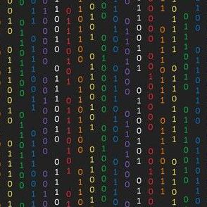 FS Girls Rule the World Binary Code Rainbow on Black