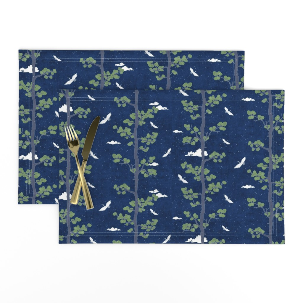 Lamona Cloth Placemats featuring Forest Fabric, Crane Fabric | Indigo Japanese print fabric, bird fabric (small scale) by forest&sea