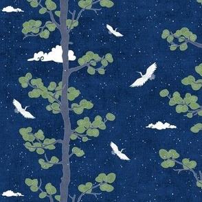 Forest Fabric, Crane Fabric | Indigo Japanese print fabric, bird fabric (small scale)