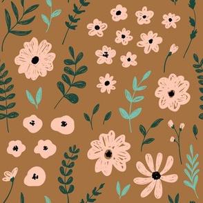 flower meadow - medium scale autumn floral graphic