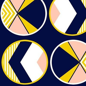 Mustard yellow, navy and blush pink color block circles