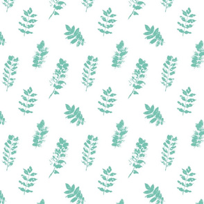 botanical mint leaves on white - medium scale autumn floral graphics