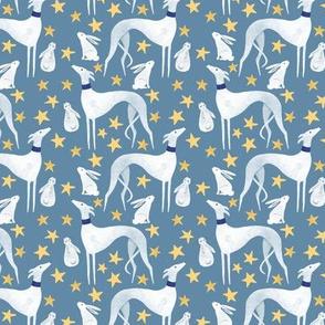 White Greyhound, hare, stars