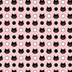 Cat Polka Dots in Pink