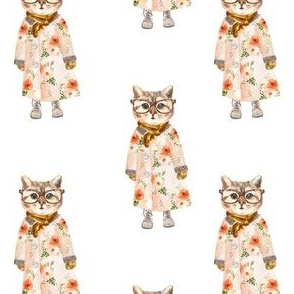 """4"""" Miss Kitty with Glasses White"""