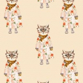 """4"""" Miss Kitty with Glasses White Polka Dots with Peach Back"""