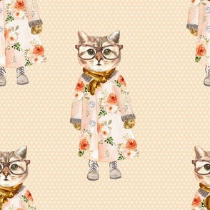 """8"""" Miss Kitty with Glasses White Polka Dots with Peach Back"""