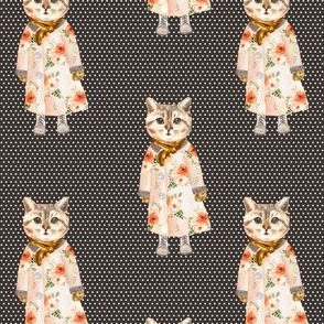 """4"""" Miss Kitty without Glasses White Polka Dots with Brown Back"""