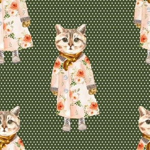 """8"""" Miss Kitty without Glasses White Polka Dots with Green Back"""