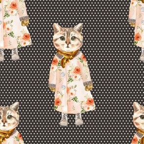 """8"""" Miss Kitty without Glasses White Polka Dots with Brown Back"""