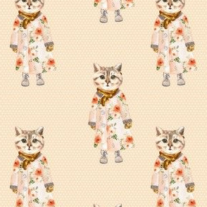 """4"""" Miss Kitty without Glasses White Polka Dots with Peach Back"""