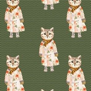 """4"""" Miss Kitty without Glasses White Polka Dots with Green Back"""