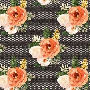 "4"" Parisian Autumn Bouquet White Polka Brown Back"