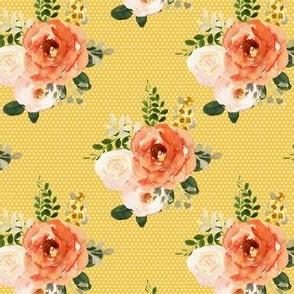 """4"""" Parisian Autumn Bouquet White Polka Dots Yellow Back"""