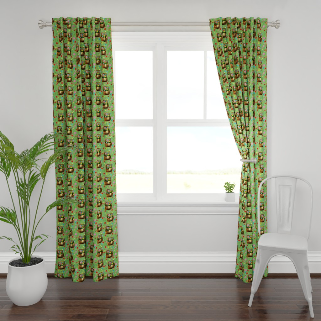 Plymouth Curtain Panel featuring Watercolor hand drawn garden pattern design by nina_savinova