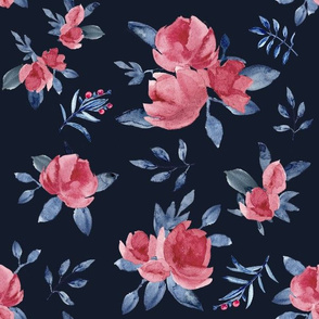 Rose Limited  watercolor (dk blue)