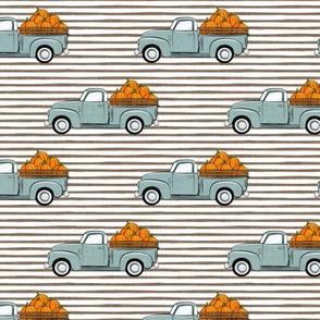 fall vintage truck - falling pumpkins - dusty blue on stripes - LAD19