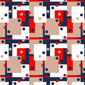 Colorblock Domino Rebellion in Red Beige Navy Blue and White