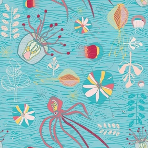 Octopus and Jellyfish - Turquoise