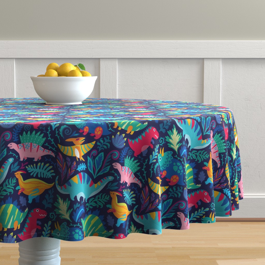 Malay Round Tablecloth featuring Dino team by penguinhouse