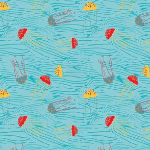 Long Tentacle Jellyfish - Teal