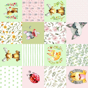 "18"" Woodland Friends - Little flowers and wild Animals Patchwork - baby girls quilt cheater quilt fabric - forest animals flower fabric, baby fabric, cheater quilt fabric"