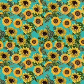 "10"" Vintage Sunflowers on Teal  sunflower fabric, sunflowers fabric"