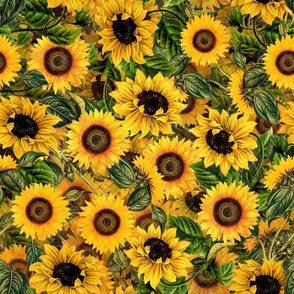 "18"" Vintage Sunflowers ,sunflowers fabric,sunflower fabric"
