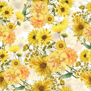 "12"" Vintage Sunflower bouquets on white,Sunflowers fabric ,sunflower fabric"