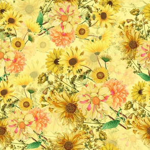 """12"""" Vintage Sunflower bouquets on yellow,Sunflowers fabric ,sunflower fabric"""
