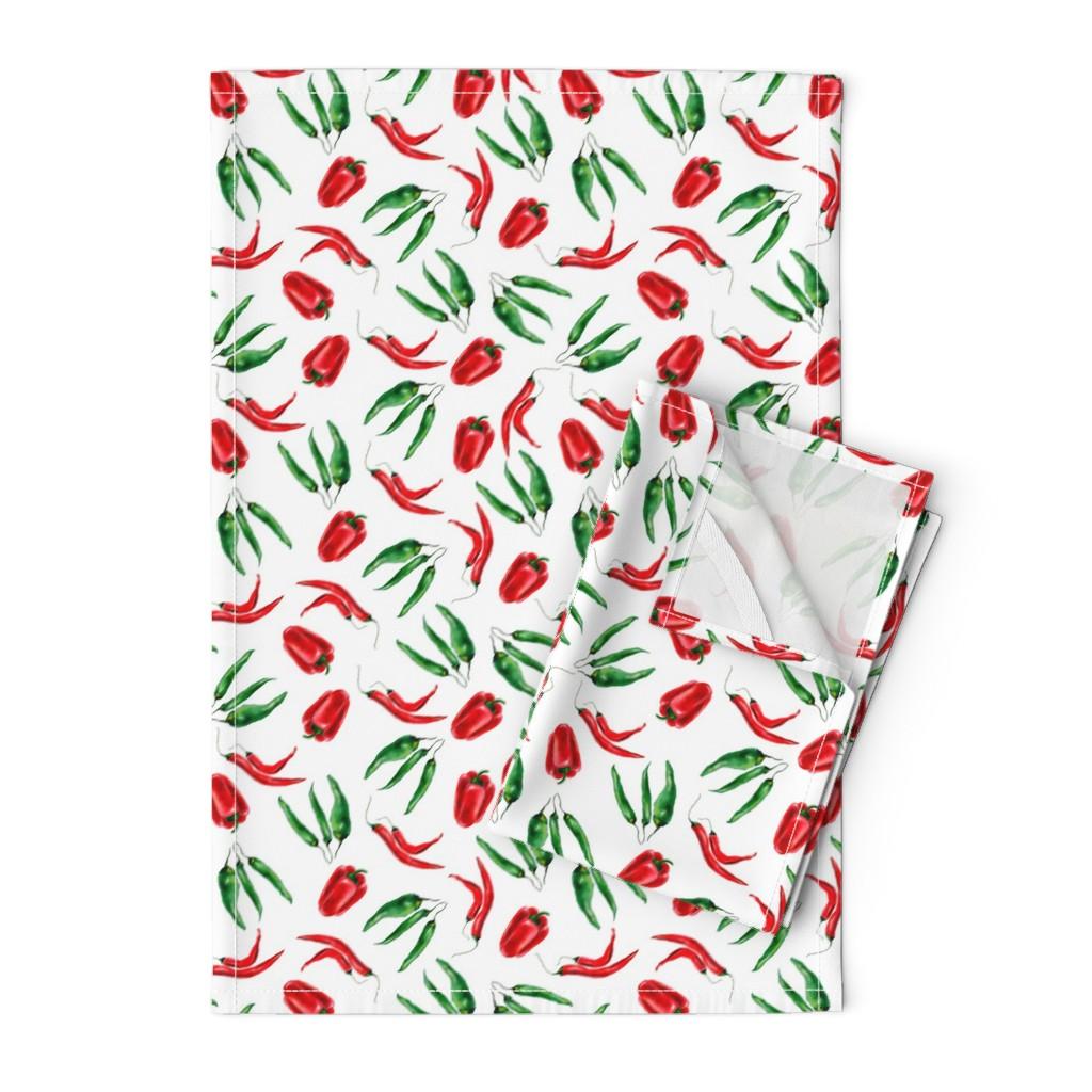 Orpington Tea Towels featuring Watercolor hand drawn  vegetables pattern design by nina_savinova