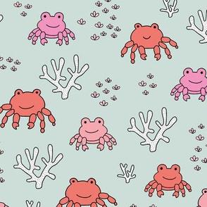 Sweet little under water crab friends deep sea coral reef summer kids prints mint pink girls