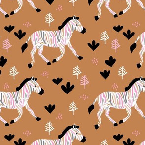Rainbow zebra friends paper cut flowers and animals in meadow fall night camel cinnamon pink
