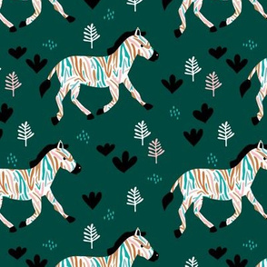 Rainbow zebra friends paper cut flowers and animals in meadow fall night green pink girls