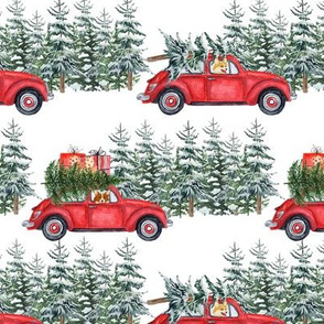 "6"" Holiday Christmas Tree Car and Corgi in Woodland, christmas fabric,corgi dog fabric 1"
