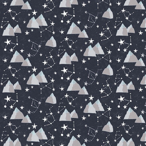 Mountain Sky - starry sky with constellations among mountains