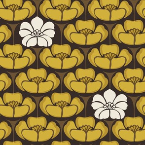 1920s Floral - Small - Mustard