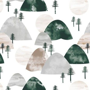 The hills little enchanted forest mountains trees and soft beige gray green neutral